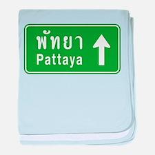 Pattaya Thailand Highway Sign baby blanket