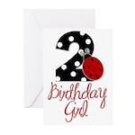 Birthday Girl - LADYBUG 2 Greeting Cards (Pk of 20