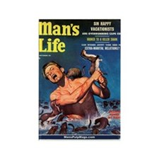 "MAN'S LIFE - ""Weasels Ripped Rectangle Magnet"