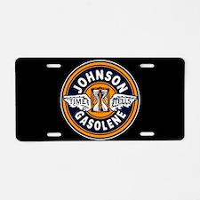 Johnson Gasolene Aluminum License Plate