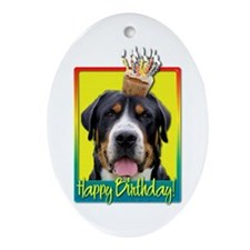 Birthday Cupcake - Swissie Ornament (Oval)