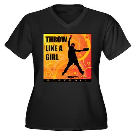 2011 Softball 97 Women's Plus Size V-Neck Dark T-S