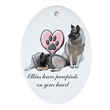 Elkie Pawprints Ornament (Oval)