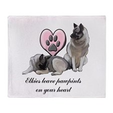 Elkie Pawprints Throw Blanket