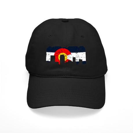Denver, Colorado Flag Distressed Black Cap
