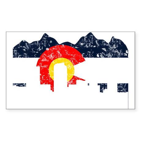 Denver, Colorado Flag Distressed Sticker (Rectangl
