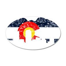 Denver, Colorado Flag Distressed 22x14 Oval Wall P