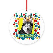 Birthday Cupcake - Husky Ornament (Round)