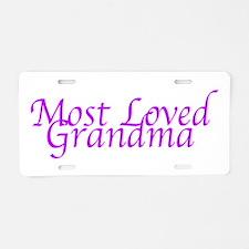 Most Loved Grandma Aluminum License Plate
