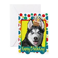 Birthday Cupcake - Husky Greeting Card