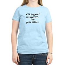 Support for Coffee T-Shirt - pink chick style