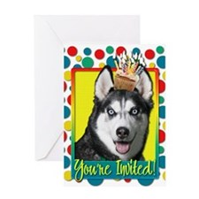 Invitation Cupcake Husky Greeting Card
