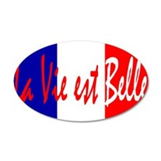 French Flag Vive La France 22x14 Oval Wall Peel