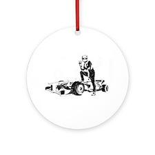 Funny Formula one racing car Ornament (Round)