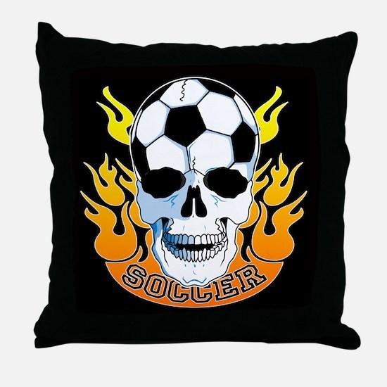 Soccer Skull Throw Pillow