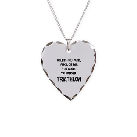 Tri Harder Necklace Heart Charm