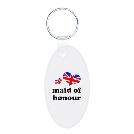 maid of honour (union jack) Aluminum Oval Keychain