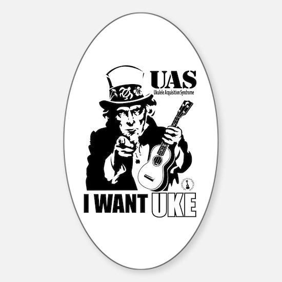 I WANT UKE Sticker (Oval)