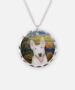Sunset / Bull Terrier #4 Necklace Circle Charm
