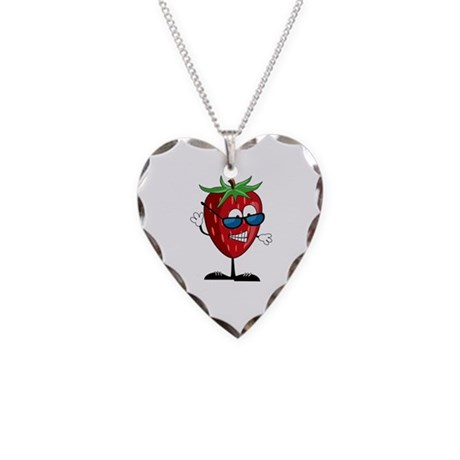 Cool Strawberry Character Necklace Heart Charm