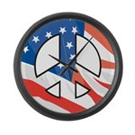 Peace flag Large Wall Clock