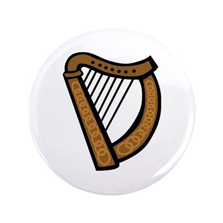 "Celtic Harp Icon 3.5"" Button (100 pack)"