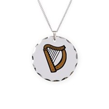 Celtic Harp Icon Necklace Circle Charm