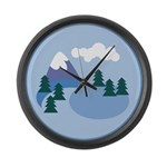 Mountain scene Large Wall Clock