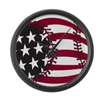 Baseball flag Large Wall Clock