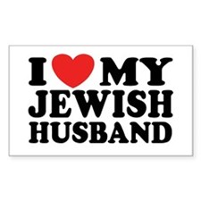 I Love My Jewish Husband Rectangle Decal