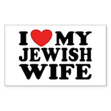 I Love My Jewish Wife Rectangle Decal
