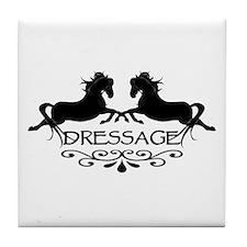 black capriole horses Tile Coaster