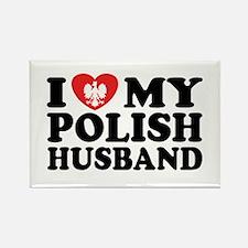 I Love My Polish Husband Rectangle Magnet