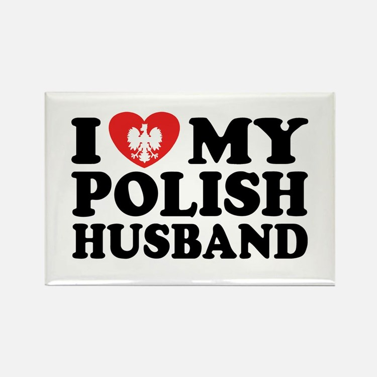 I Love My Polish Husband Rectangle Magnet
