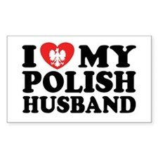 I Love My Polish Husband Rectangle Decal