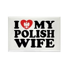 I Love My Polish Wife Rectangle Magnet