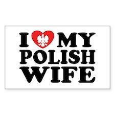 I Love My Polish Wife Rectangle Decal