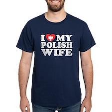 I Love My Polish Wife Black T-Shirt