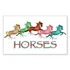 many leaping horses Rectangle Decal