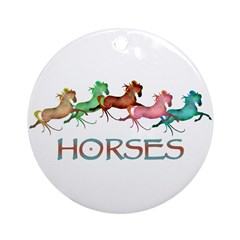 many leaping horses Ornament (Round)