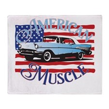 57 Chevy American Muscle Throw Blanket