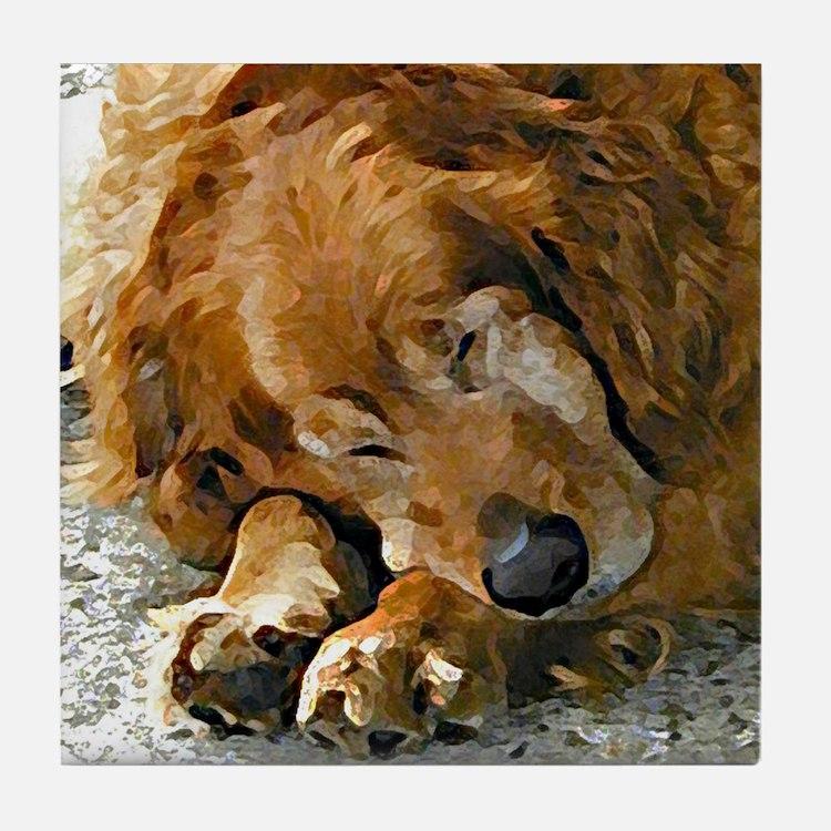 Golden Retriever collectible dog art tile