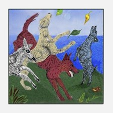 Dancing Dogs collectible ceramic tile