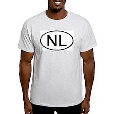 NL - Initial Oval Ash Grey T-Shirt
