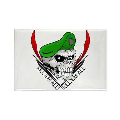 Green Beret Skull Rectangle Magnet