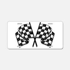 Chequered Flag Aluminum License Plate