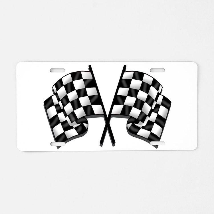Chequered Flag Aluminum License Plate
