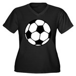 Soccer Football Icon Women's Plus Size V-Neck Dark