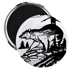 HUNTING BEAR IN THE WILDERNESS_blk/white- Magnet