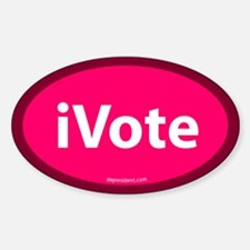 iVote Pink Oval Decal